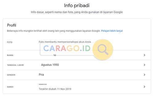 Halaman Info Pribadi