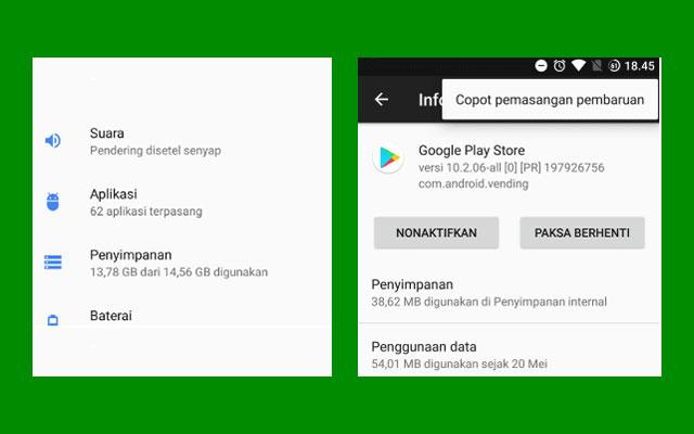 Update Play Store Lewat Uninstall Update