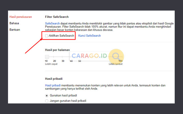 Hilangkan Centang Safesearch PC