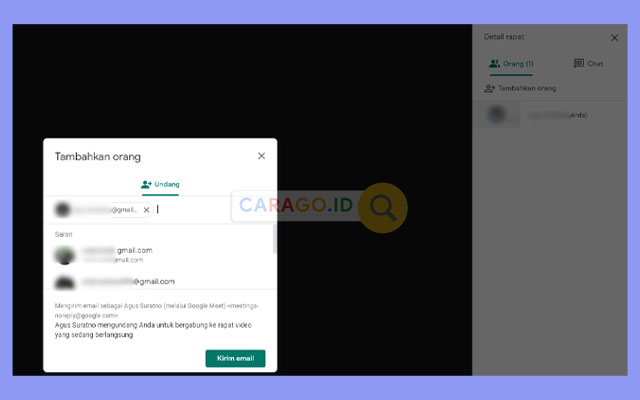 Invite Google Meet Lewat Add People