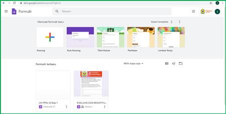 2 Tampilan Halaman Depan Google Form Setelah Login