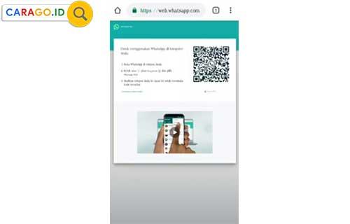 4. Pada halaman web whatsapp akan berubah dan menampilkan sebuah gambar barcode