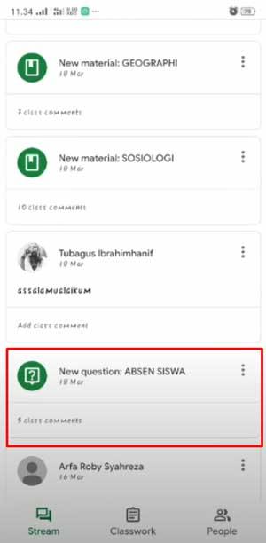 Cek bagian status yang diberikan oleh Guru atau Dosen dengan judul absen siswa