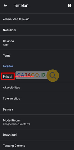 Lalu cari menu Privasi