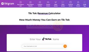 Masuk halaman TikTok Money Calculator