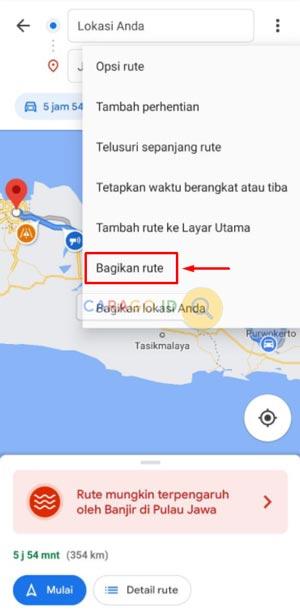 Bagikan Rute Google Maps