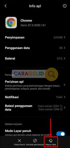 Hapus Data Google Chrome