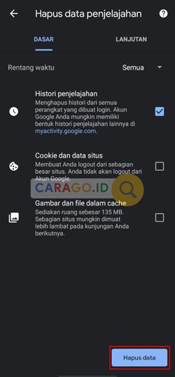 Klik Hapus Data Penelusuran Google Chrome