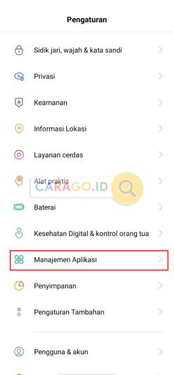 Masuk Menu Manajemen Aplikasi