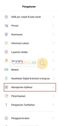 Pilih Manajemen Aplikasi